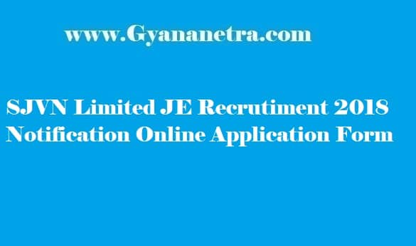 SJVN JE Recruitment 2018