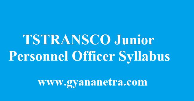 TSTRANSCO Junior Personnel Officer Syllabus 2018