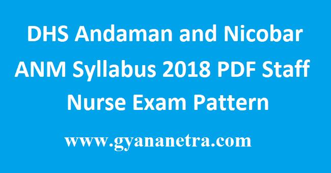 DHS Andaman and Nicobar ANM Syllabus