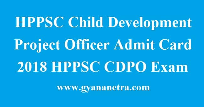 HPPSC Child Development Project Officer Admit Card