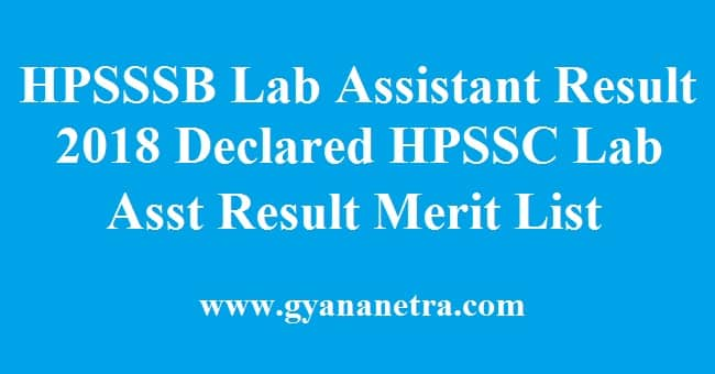 HPSSSB Laboratory Assistant Result