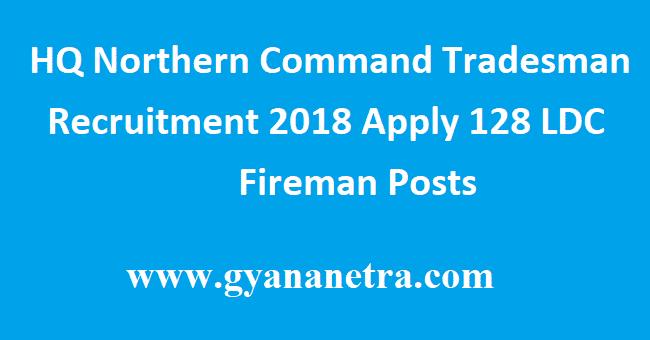 HQ Northern Command Tradesman Recruitment