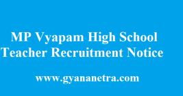 MP Vyapam High School Teacher Recruitment Notice