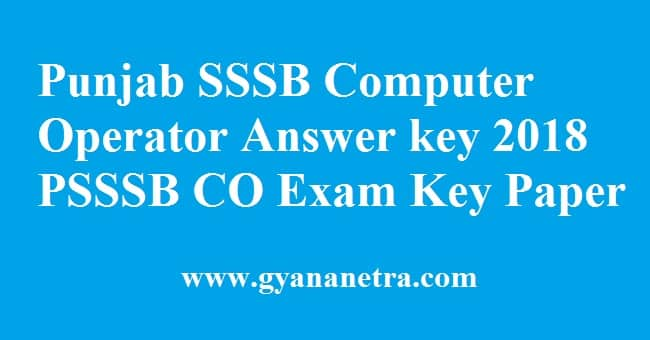 Punjab SSSB Computer Operator Answer key
