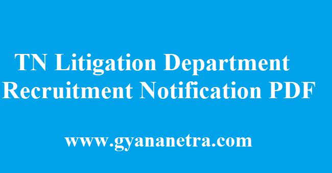 TN Litigation Department Recruitment 2018