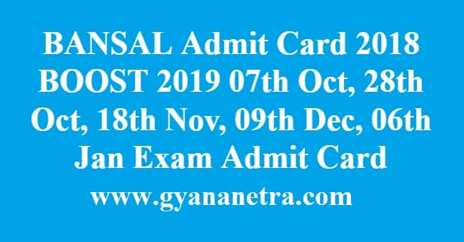 BANSAL Admit Card