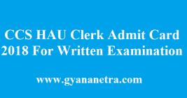 CCS HAU Clerk Admit Card 2018