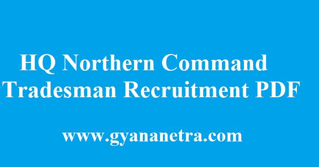 HQ Northern Command Recruitment 2018