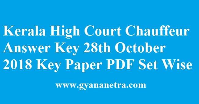 Kerala High Court Chauffeur Answer Key