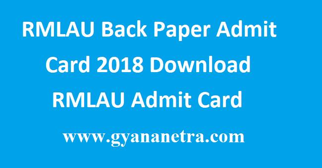 RMLAU Back Paper Admit Card