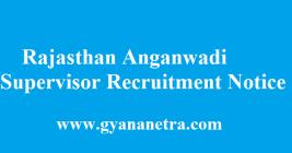 Rajasthan Anganwadi Supervisor Recruitment 2018