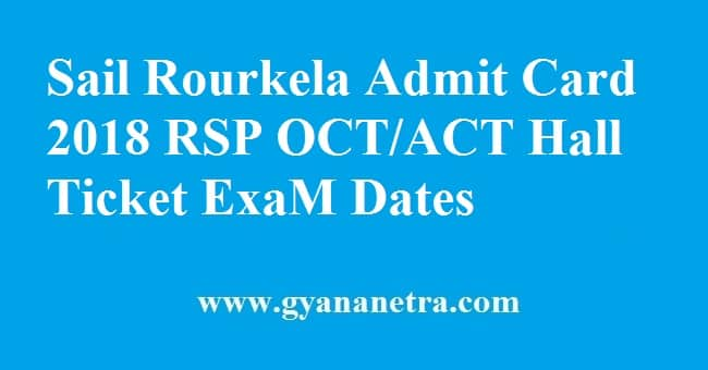 Sail Rourkela Admit Card