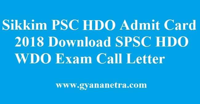Sikkim PSC HDO Admit Card