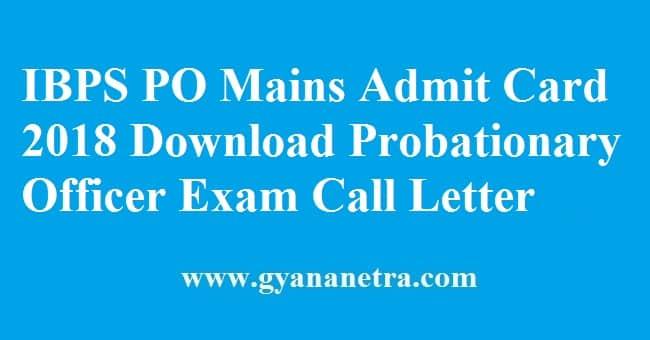 IBPS PO Mains Admit Card