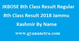 JKBOSE 8th Class Result Regular