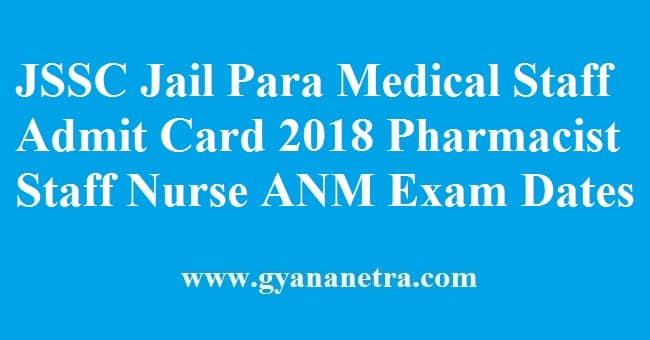 JSSC Jail Para Medical Staff Admit Card