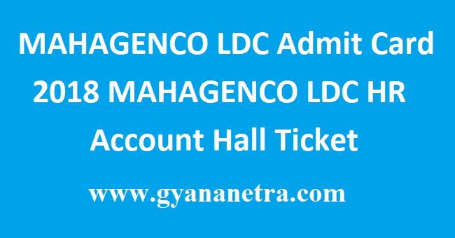 MAHAGENCO LDC Admit Card 2018