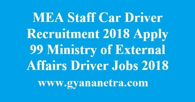 MEA Staff Car Driver Recruitment