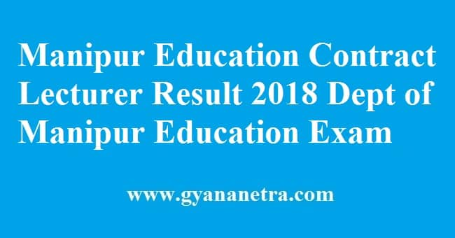 Manipur Education Contract Lecturer Result
