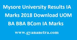 Mysore University Results IA Marks
