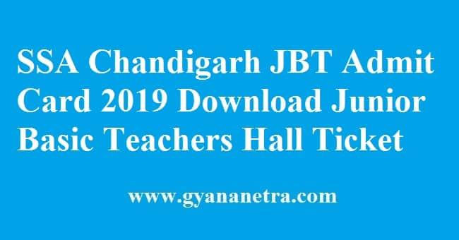SSA Chandigarh JBT Admit Card