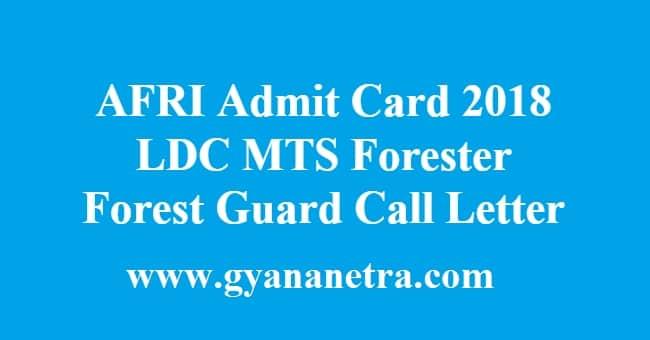 AFRI Admit Card