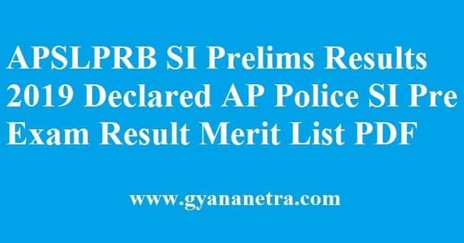 APSLPRB SI Prelims Results