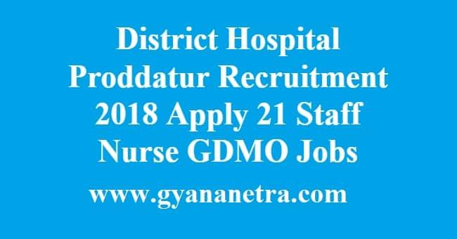 District Hospital Proddatur Recruitment