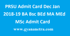 PRSU Admit Card Dec Jan