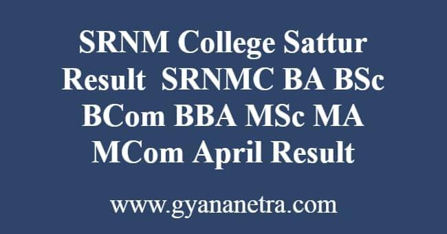 SRNM College Sattur Result Download