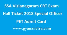 SSA Vizianagaram CRT Exam Hall Ticket