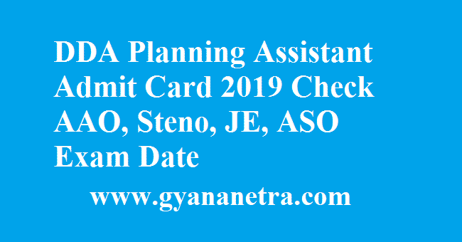 DDA Planning Assistant Admit Card