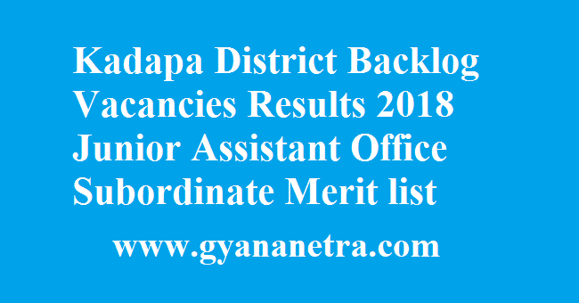 Kadapa District Backlog Vacancies Results