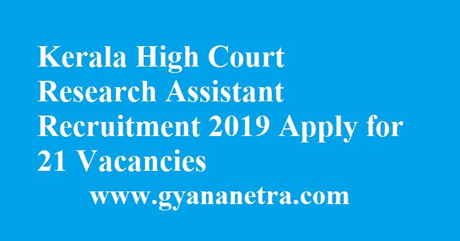 Kerala High Court Research Assistant Recruitment