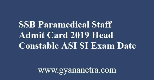SSB Paramedical Staff Admit Card