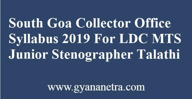 South Goa Collector Office Syllabus