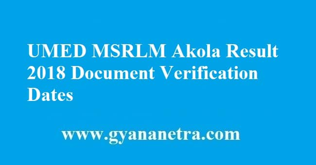 UMED MSRLM Akola Result 2018