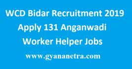 WCD Bidar Recruitment 2019