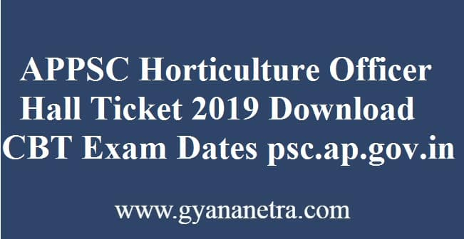 APPSC Horticulture Officer Hall Ticket