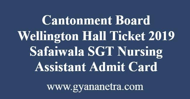 Cantonment Board Wellington Hall Ticket