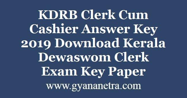 KDRB Clerk Cum Cashier Answer Key