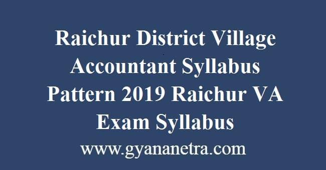 Raichur District Village Accountant Syllabus Pattern