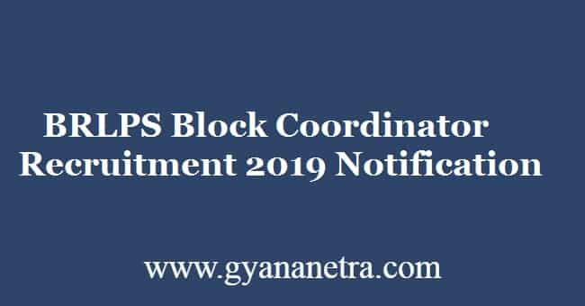 BRLPS Block Coordinator Recruitment 2019