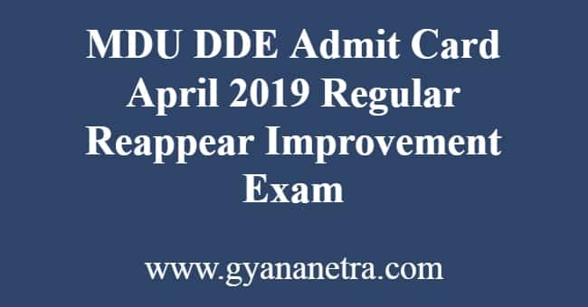 MDU DDE Admit Card April