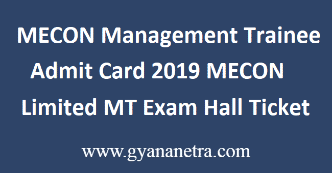 MECON Management Trainee Admit Card