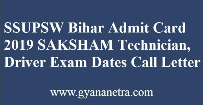 SSUPSW Bihar Admit Card