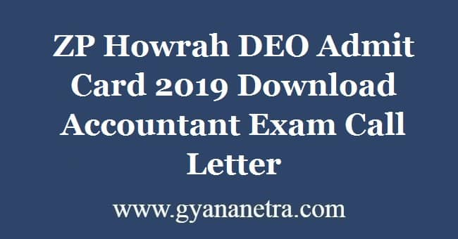 ZP Howrah DEO Admit Card