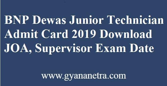 BNP Dewas Junior Technician Admit Card