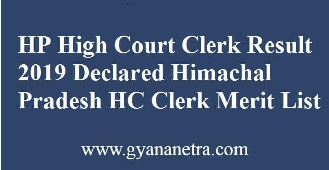 HP High Court Clerk Result