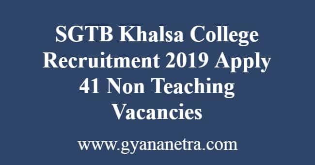 SGTB Khalsa College Recruitment